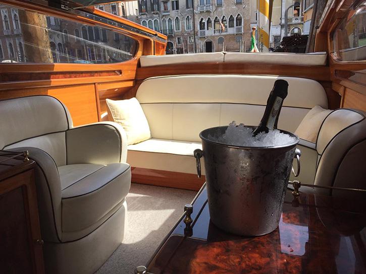luxury water taxi interior prosecco